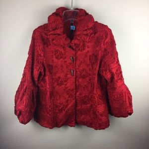 Ic by Connie K red structured floral jacket